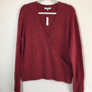 NWT Madewell Faux Wrap Front Wool Blend Sweater XL